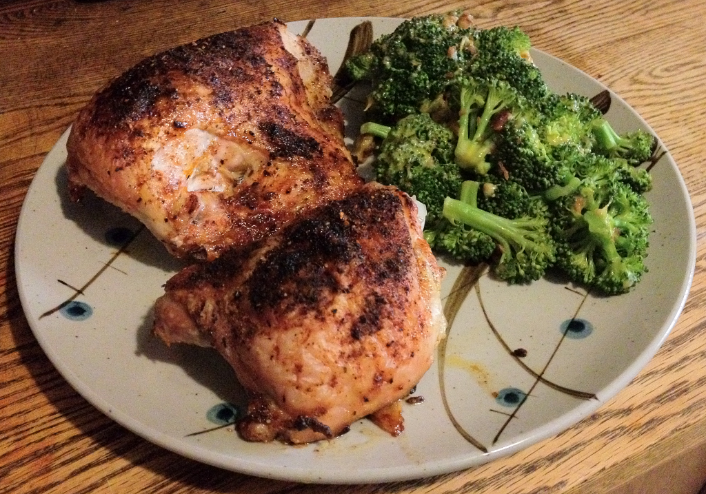 Oven Baked Chicken and Cheesy Bacon Broccoli