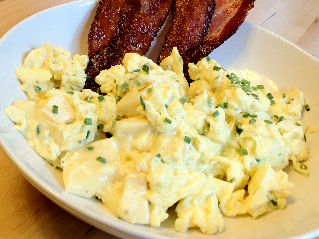 Scrambled Eggs with Chives and Brie | T1D and Gluten Free